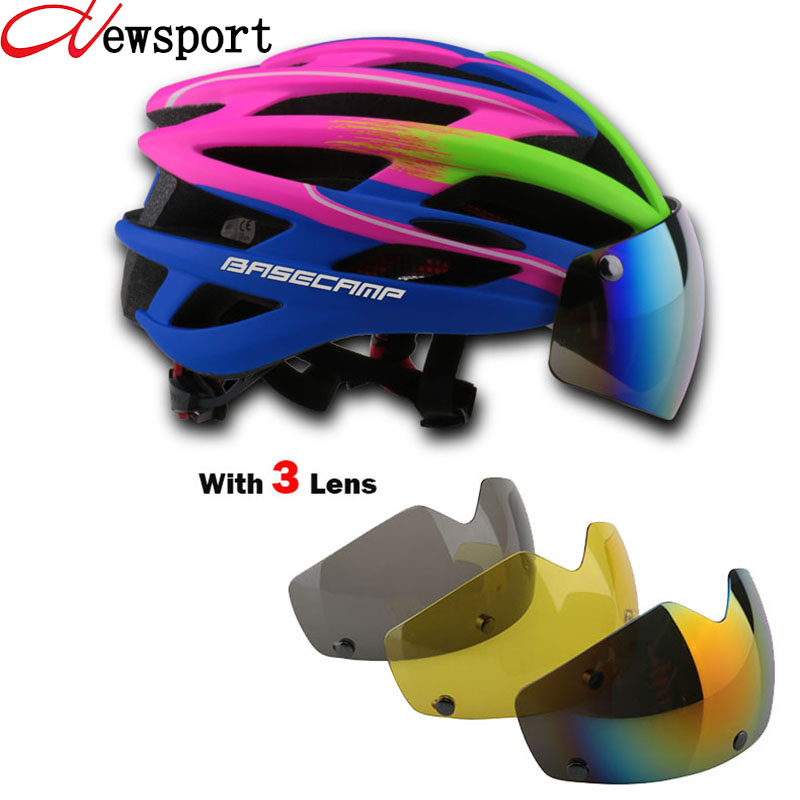 New Bicycle Helmets Sunglasses Cycling Glasses 3 Lens Integrally Molded Men Women Mountain Road Bike Helmets 56~62cm topeak outdoor sports cycling photochromic sun glasses bicycle sunglasses mtb nxt lenses glasses eyewear goggles 3 colors