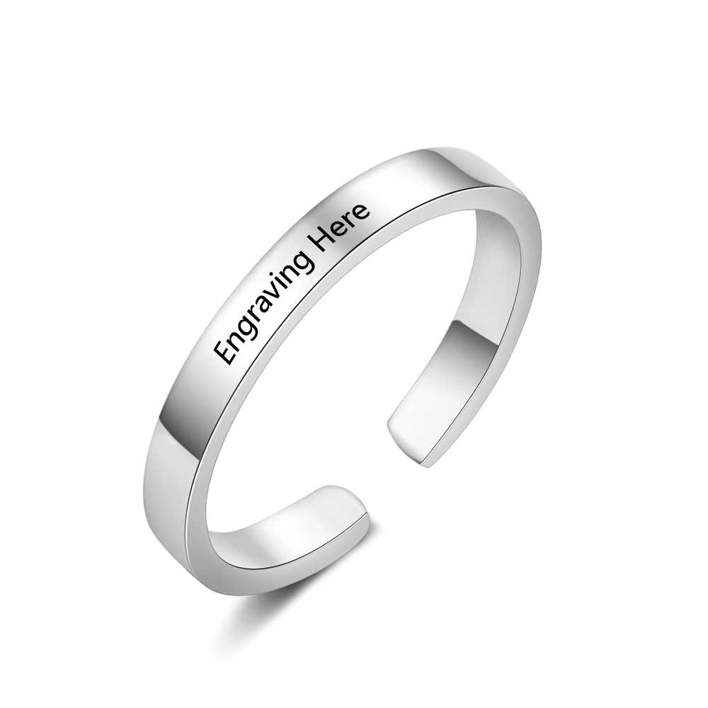 Personalized Ring Stainless Steel Jewelry Adjustable Fashion 3 Colors Rings Custom Name Charm Anniversary Wedding Gift for Women