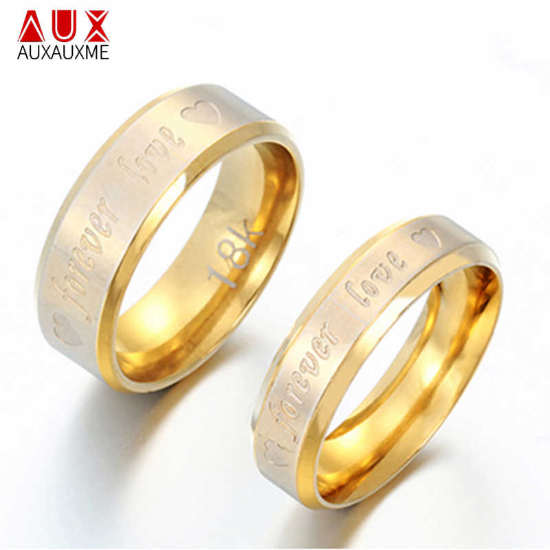 Auxauxme Stainless Steel Forever Love Rings For Couple Jewelry Gold Classical Lover Wedding Bands Ring Valentine's Bague Bijoux