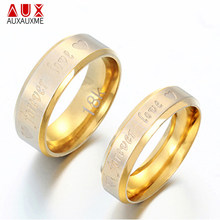 Auxauxme Stainless Steel Forever Love Rings For Couple Jewelry Gold Classical Lover Wedding Bands Ring Valentine's Bague Bijoux(China)