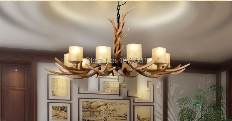 Europe Country 10 Heads Chandelier American Retro Lamps Resin Deer Horn Antler Glass Lampshade Art Decoration, E27 110-220V europe country 5 heads french retro pendant light resin deer horn antler glass lampshade home decoration lighting e27 110 220v