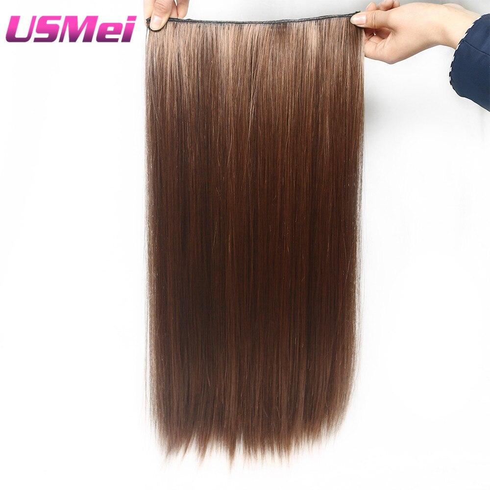 USMEI 60CM Clip de cabeza completa en extensiones de cabello Tonos sintéticos falsos marrón multicolor de 2-30 # Straight 5 clips / PCS