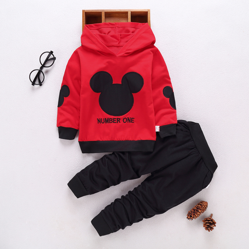 New 2019 Spring Autumn Boys 2Pcs Sport Suits Fashion Baby Boys Girls Mickey Hoodies Sport Suit Toddler Boys Clothing Set