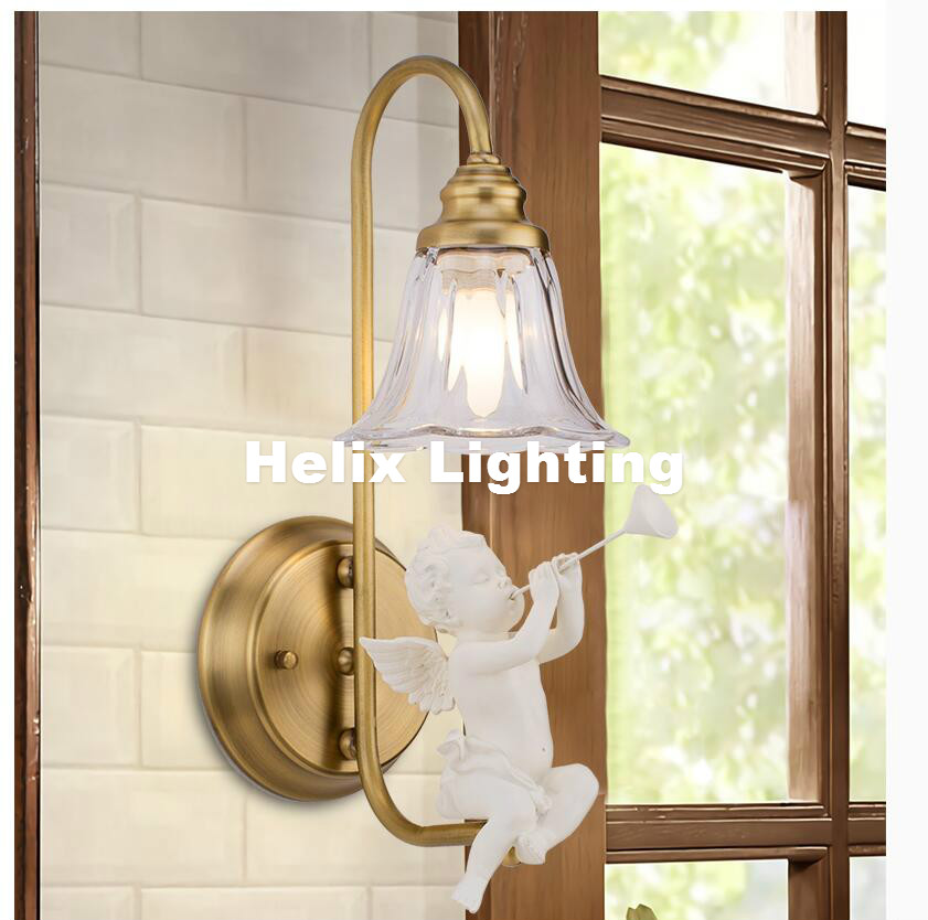 Free Ship Nordic European Bedroom Bedside Living Room Cafe Dining Room Angel Wall Lamp Wedding Room Aisle Light Bra Wall Sconce