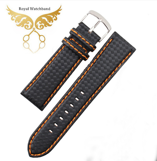 085984327 18mm 20mm 22mm 24mm Black Watch Band Carbon Fibre Watch Strap Orange  Stitching with Leather Lining Silver Stainless Steel Clasp