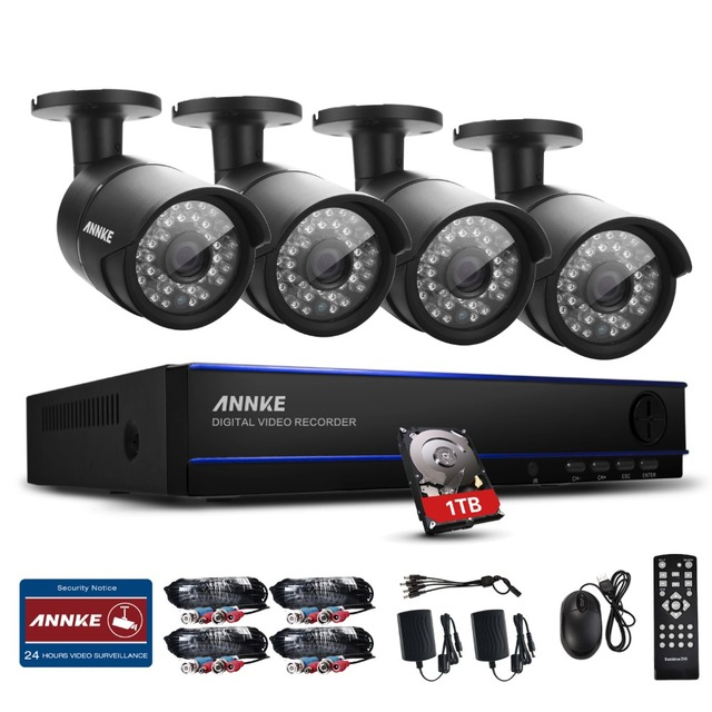 ANNKE 1080P 4CH DVR Outdoor IR CUT CCTV Home Video Security Camera System 1T