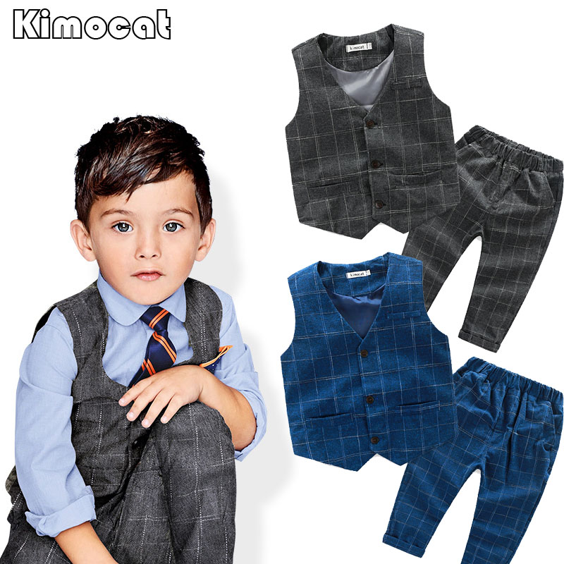 Kimocat Brand Kids Formal Wedding Clothes Suit Baby Boy Blazer Set Boys Tuxedo Suits Jacket + Pants Children Clothing For Weddin boys wedding clothes kids tuxedo suit for baby boy blazer plaid vest shirt pants toddler formal party set children clothing b038