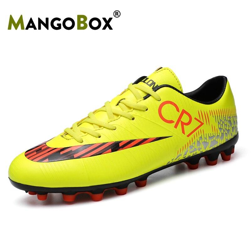 Mangobox 2019 Football Men Sneakers Ankle Football Boots Children Black Orange Sport Soccer Shoe Boys Long Spike Football Shoes