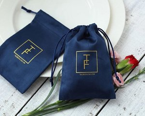 Image 5 - 100 Flannel Jewelry Pouches Custom Personalized Logo Navy Blue Jewelry Packaging Velvet Drawstring Gift Bag for Wedding Party