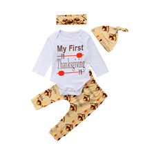 Thanksgiving Newborn Baby Boys Girls Outfit 4PCS Warm Long Sleeve Bodysuit+Pants+Headband+Hat Fashion Clothes Set(China)