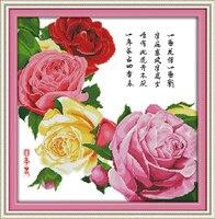 Four Seasons Spring Cross Stitch Kit Flower 14ct Printed Fabric Canvas Stitching Embroidery DIY Handmade Needlework
