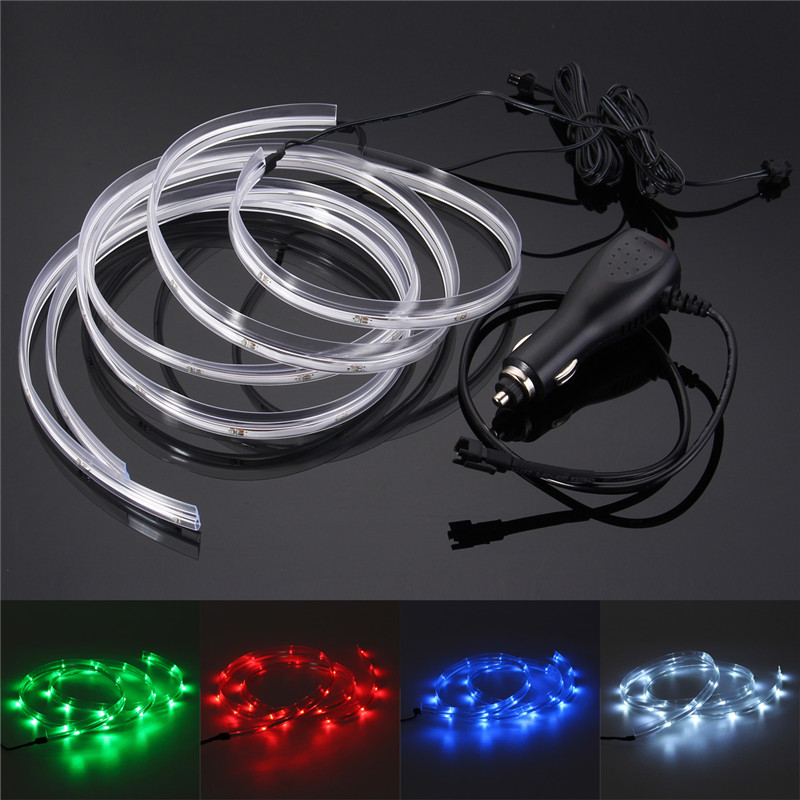 mising 2pcs 100cm neon 25 led strip light 12v dc glow el wire string strip rope tube car. Black Bedroom Furniture Sets. Home Design Ideas