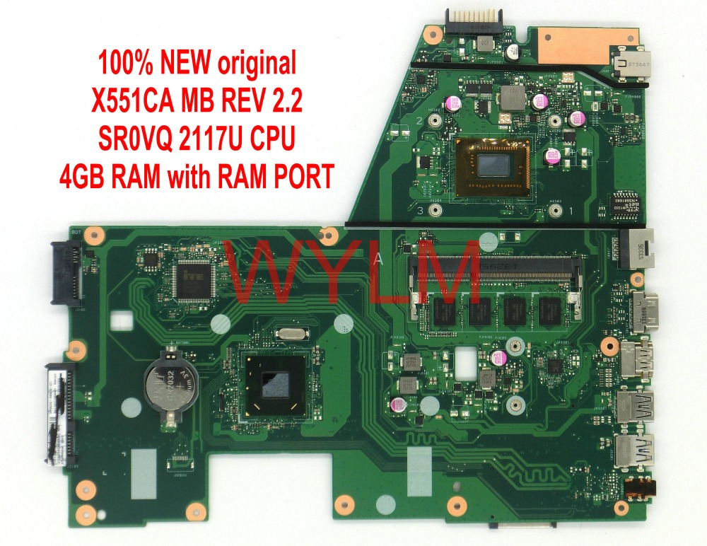 free shipping NEW original X551C X551CAP X551CA motherboard MAIN BOARD mainboard SR0VQ 2117 CPU 4GB RAM with ram port 100%Tested free shipping original p500ca laptop motherboard main board mainboard rev 2 0 4gb ram sr0xl i5 3337 cpu 100
