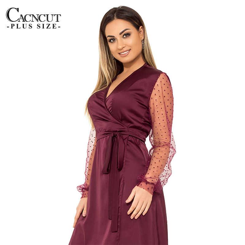 Cacncut 2019 5XL夏プラスサイズの女性のドレスカジュアル 6XLビッグ大サイズワープドレスvネックのセクシーなメッシュイブニングパーティークラブvestido