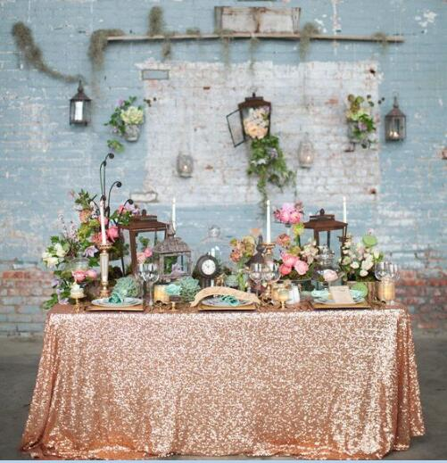2017 Glitter Rose Gold Rectangular Sequin Tablecloth