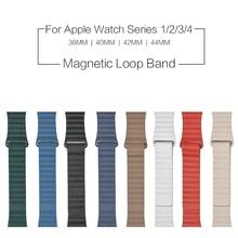 Кожаный ремешок с магнитной петлей 1:1 для Apple Watch 38 мм 40 мм 42 мм 44 мм ремешок для Apple Iwatch Band Series 1 2 3 4 ремешок для часов