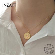 e5a31c5ab022 INZATT moda dólar reina medallón moneda colgante collar 925 Plata de Ley  Color oro redondo mujeres joyería de moda 2018 regalo