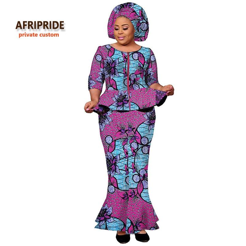 Conjunto de falda tradicional africana de 2 piezas para mujer AFRIPRIDE estampado clásico ankara habitual top + falda de tobillo conjunto casual para mujer A722603
