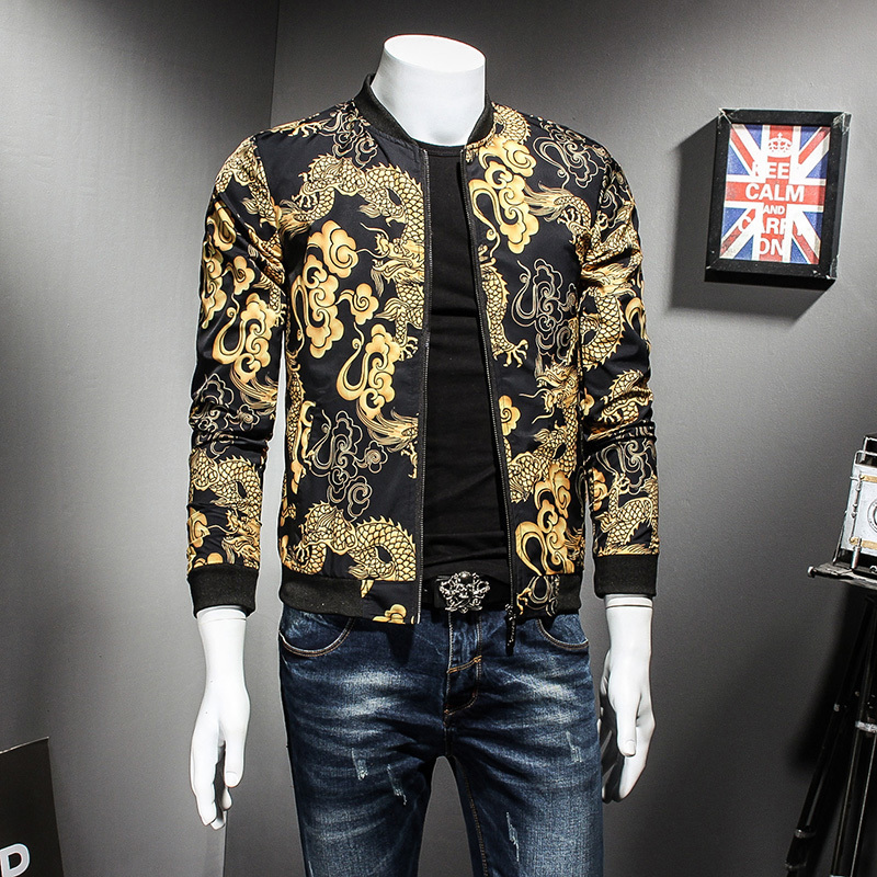 Dragon Gold Print Spring Autumn Jacket Hip Hop Fashion Prom Party Club  Outfit Men Vintage Jacket Men Bomber Oversize 5xl-in Jackets from Men s  Clothing on ... 54790dbe1