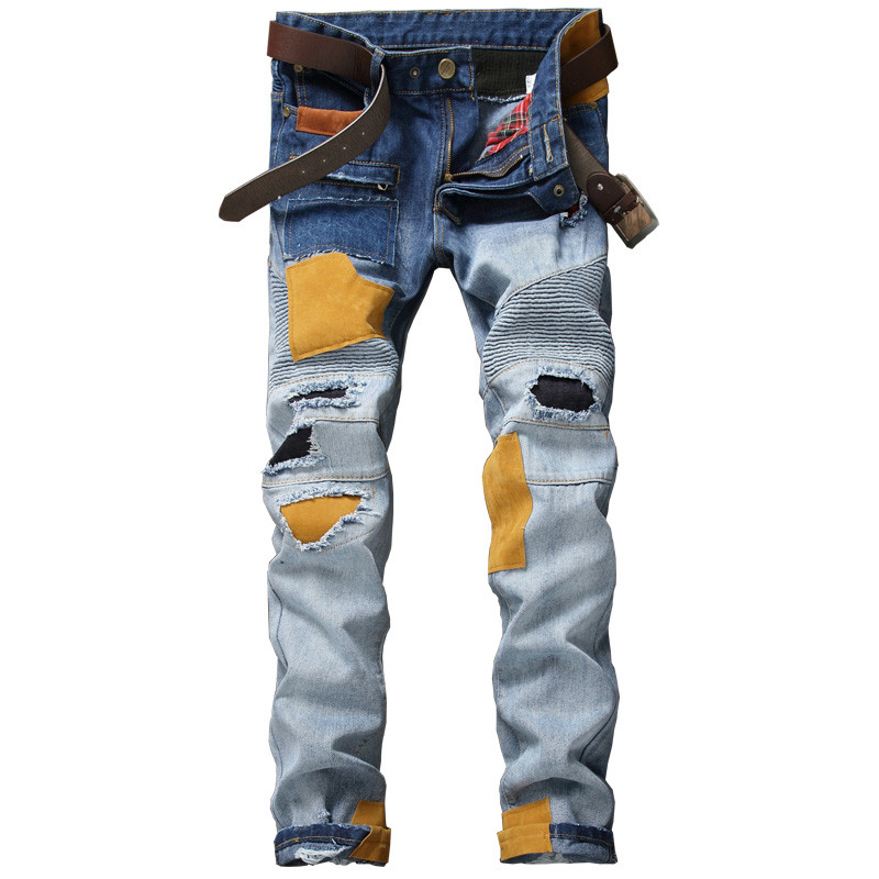 New Distressed Patchwork Jeans Men Ripped Jeans Scratched Biker Jeans Hole Denim Straight Slim Fit Hip Hop Casual Moto Pants new fashion mens patchwork straight trousers men distressed ripped jeans brand scratched biker jeans denim slim fit casual pants