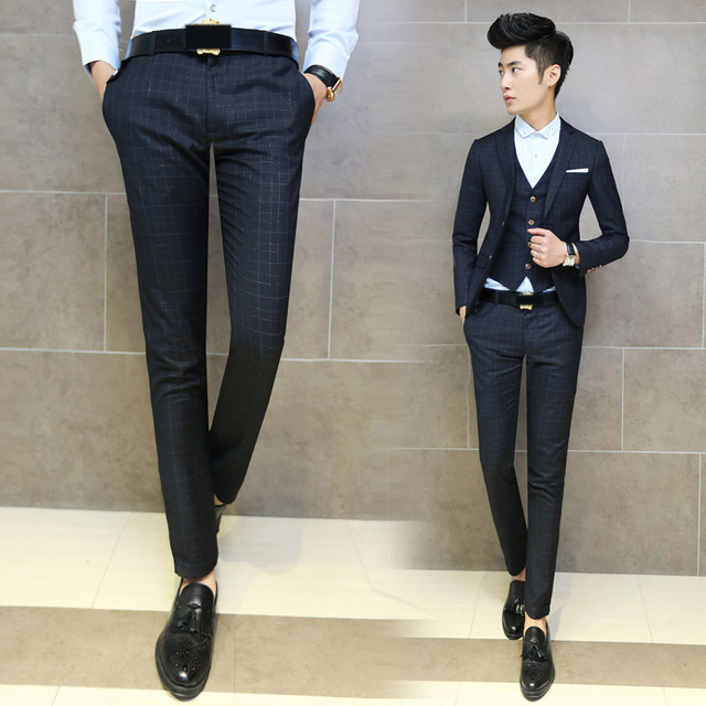 0521dc1b53ea86 New Men's Trendy Plaid Checked Slim Fit Casual Work Pants Trousers Black  Grey Size 29-33