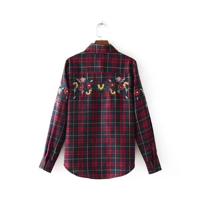 0d0b6b6cb624b34 Купить Женская красная клетчатая рубашка с вышивкой, блузка из хлопка в  клетку, Топ с длинным рукавом, Женская Офисная рубашка, Blusas Camisas  mujer Продажа ...