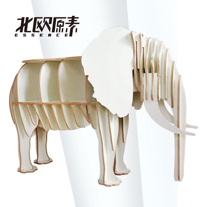 The Elephant Animal Style shelf shelf porch desk wooden decoration home 70*27*113cm