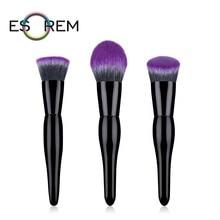 ESOREM 3pcs Makeup Brushes Soft Purple Hair Make Up Brush Organizer Larger Powder Flat Contour Tapered Face Brochas Maquillaje nature hair flat fluff powder brush