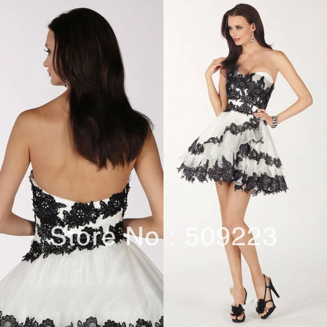2013 short puffy prom dresses black and white Cheap Simple But ...