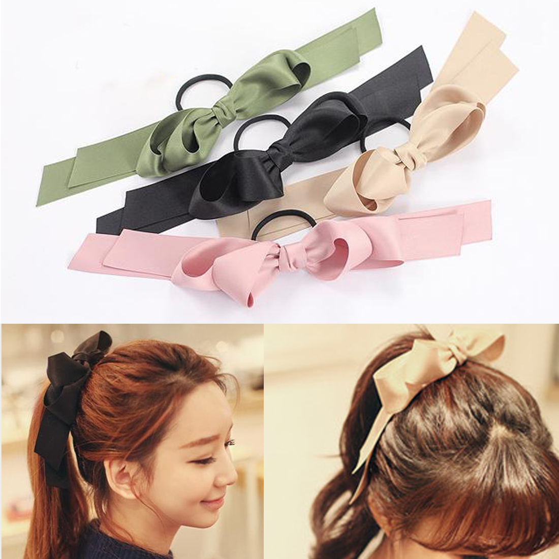 1PC Women Tiara Satin Bow Tie Scrunch Hair Band Ribbon Scrunchie Ponytail Holder Rope Rings Hair Accessories for Girl Headbands in Women 39 s Hair Accessories from Apparel Accessories