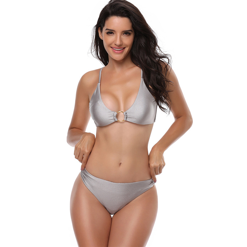 2018 New Silver Push up Bikini Women Sexy Swimsuit Female Summer Bikini Beach Wear Bathing suit Brazilian Micro Swimwear 26B ...