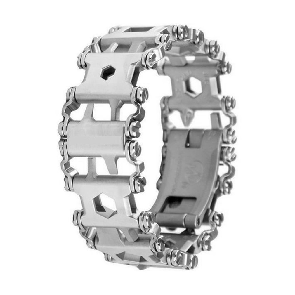 Multifunction Outdoor Bolt Driver Tools Kit Travel Friendly Wearable Multitool Tread Stainless Steel Bracelet New multifunction tread bracelet stainless steel outdoor bolt driver tools kit travel friendly wearable multitool free combination