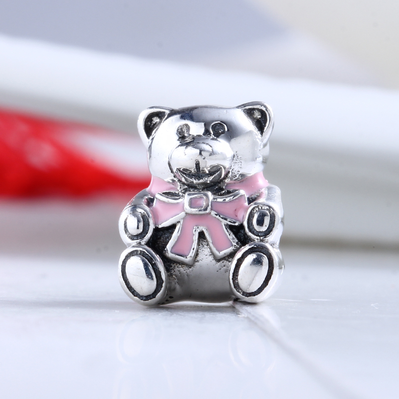 New 100% 925 Sterling Silver Fit Original Pandora Bracelet Enamel Pink Cute Bear Charm DIY Charms Beads for Jewelry Making Gift