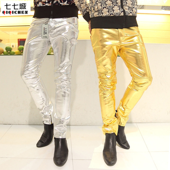 Gold Leather Pants Fashion 2015 New Nightclub Sexy Silver Pants Men Slim Faux Leather Mens Gold Pants Cotton Male Leather Pants roupas da moda masculina 2019