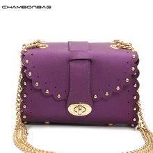 Small Crossbody Rivet Belt Bag Fashion Women Messenger Bags Spring Summer Casual Candy Color Girls Chain Bag N532