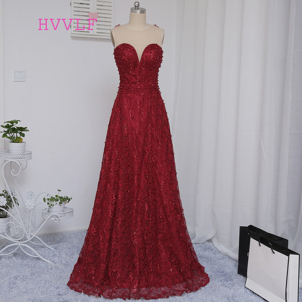 New Burgundy 2019   Prom     Dresses   A-line Sweep Train Lace Beaded Backless Sexy Long   Prom   Gown Evening   Dresses   Evening Gown