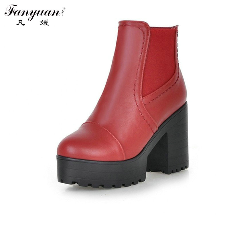 ФОТО Fashion 2016 Sexy Thick High Heels Platform Ankle Boots For Women Sexy  Round Toe Beef Tendon Skidproof Lady's  Short Boots