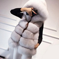 2016 зимнее пальто женщин искусственного silver fox шуба с капюшоном жилет средней длины жилет женская норки пальто FS0317