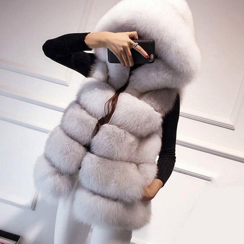 Vison D'hiver À long noir Faux gris Argent 2016 Femmes Gilet Capuchon Fourrure blanc Fs0317 Dame ardoisé De Renard Manteau Moyen rouge Argenté 4q85x876w