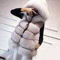 2016 mulheres casaco de inverno prata raposa casaco de pele do falso com capuz casaco de vison colete colete de médio-longo da senhora FS0317