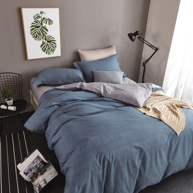 Simple Plain Blue And Grey Bedding Set Queen Size Duvet Covers Flat Bed  Sheets With Pillowcase