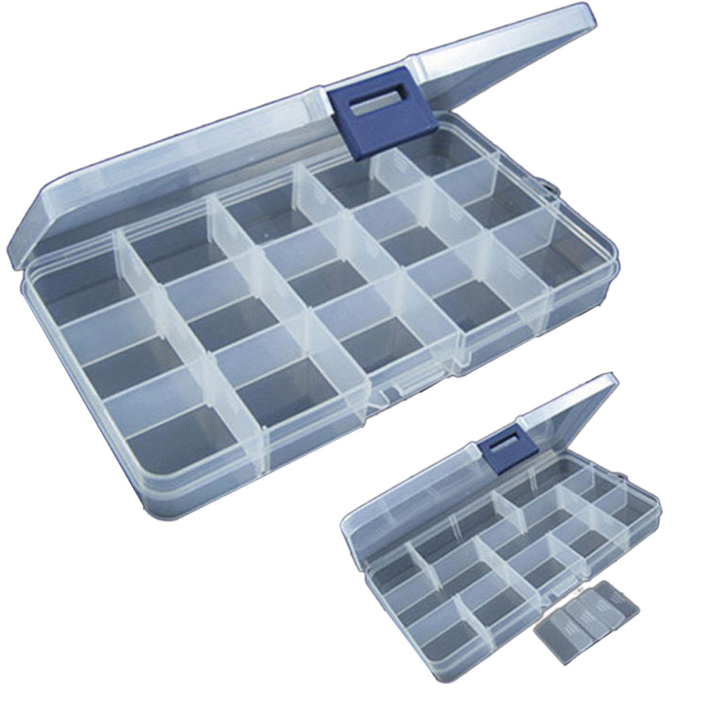15 Slots Adjustable Plastic Fishing Lure Hook Tackle Box Storage Case Portable Tackle Multifunctional Organizer Fishing Boxes