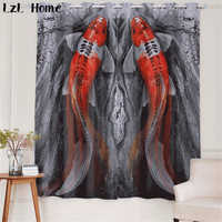LzL Home marine animals pattern curtains 3d modern Chinese finished blackout curtains for living room kitchen window kids room