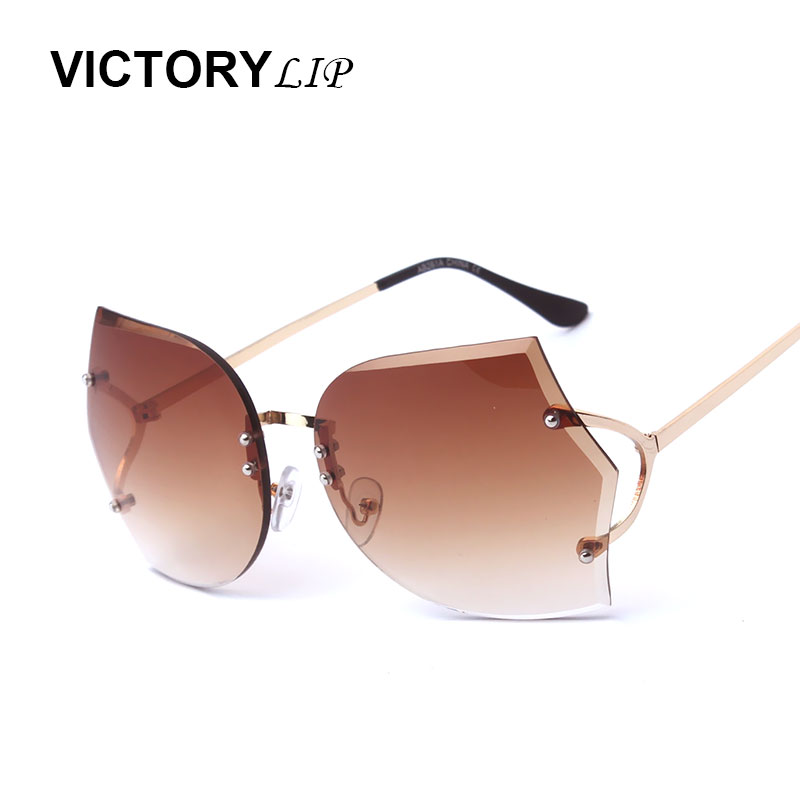 VictoryLip Oversize Rimless Women Brand Designer Transparent Sunglasses Female Big Size Clear Lens Gradient Sun Glasses Oculos