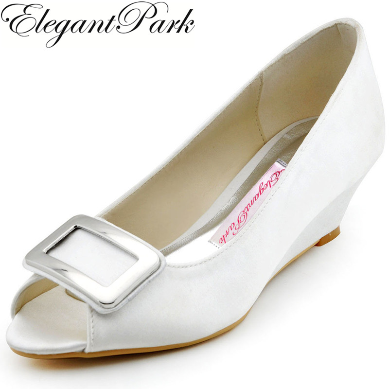 New Design WP1401 Elegant Woman Shoes White Peep Toe Wedge Heel Square Buckle Satin Lady Evening Party Pumps Women Wedding Shoes