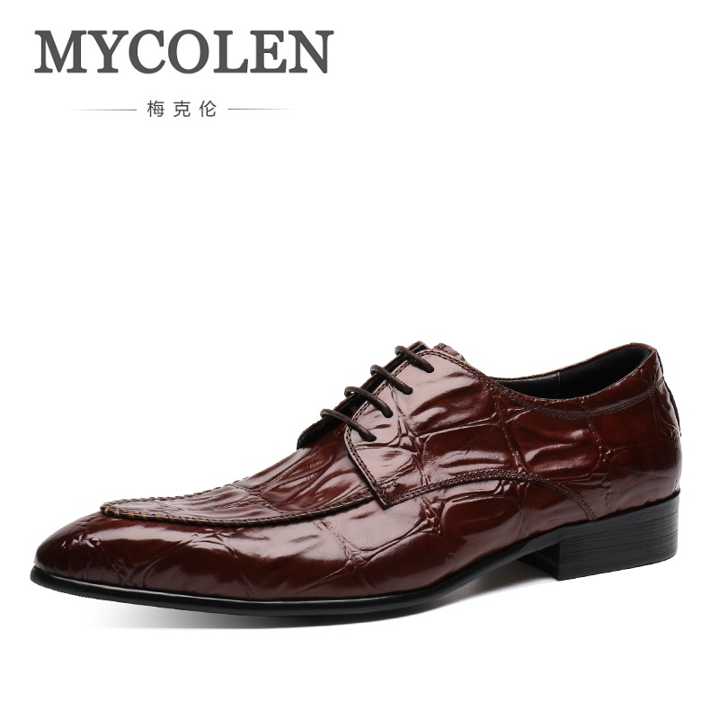 MYCOLEN Luxury Men Dress Shoes Pointed Toe Leather Formal Shoes For Business Wedding Shoes Male Spring Scarpe Uomo Eleganti Men mycolen men formal shoes luxury business dress shoes full leather pointed toe loafers men wedding leather shoe black moccasins