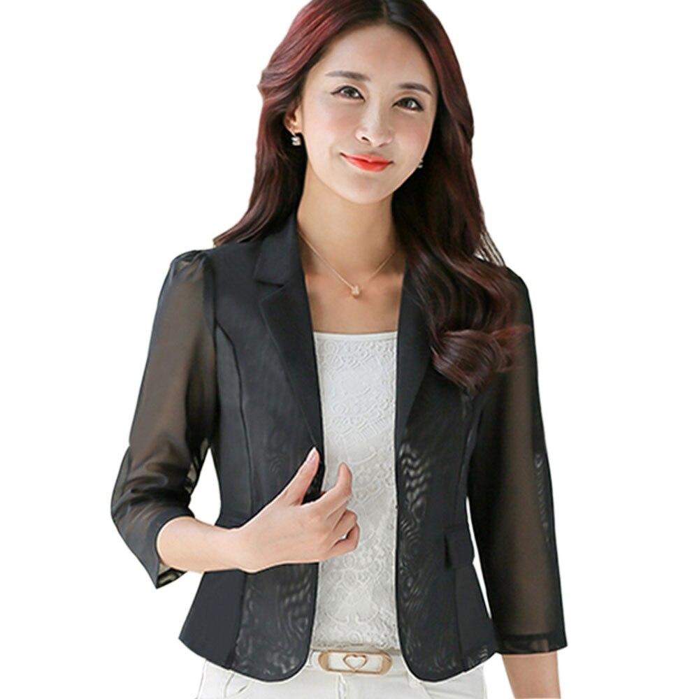 Aliexpress.com  Buy Spring Summer Small Suit Female Sheer Chiffon Shawl Sun Shirt Women Blazers ...