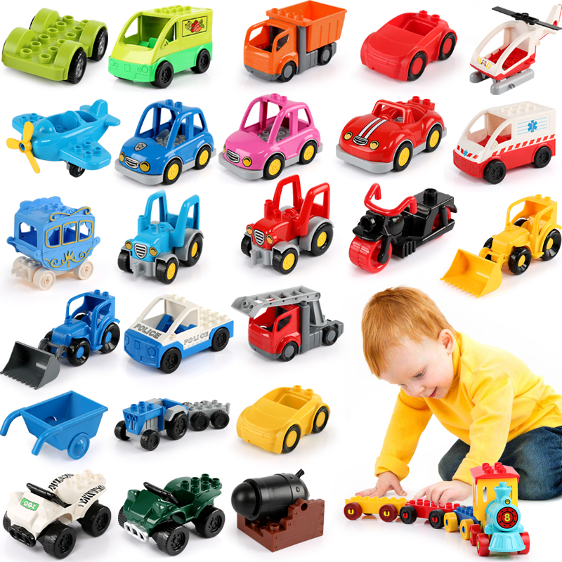 Big Size Trailer Car Motorcycle Boat Figure Building Blocks Collocation Vehicle Accessory Blocks Kid DIY Toy Brick Set Gift