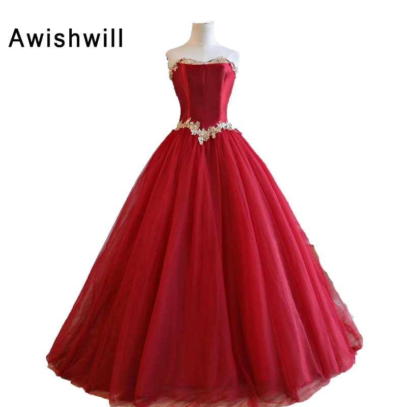 Puffy Ball Gown Red Prom Dress Strapless Appliques Satin Bodice