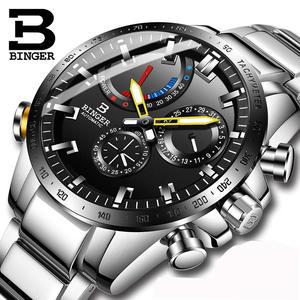 Роскошные Брендовые мужские часы швейцарские часы Бингер Мужские автоматические механические мужские часы сапфир водонепроницаемый дисп...